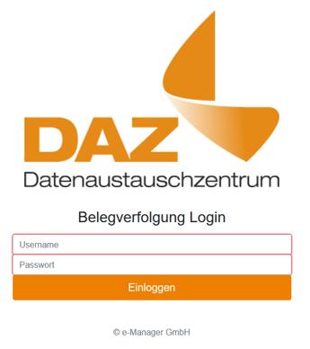 Screenshot des DAZ Login Fensters