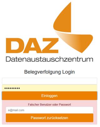 Screenshot Fehlermeldung bei DAZ Login