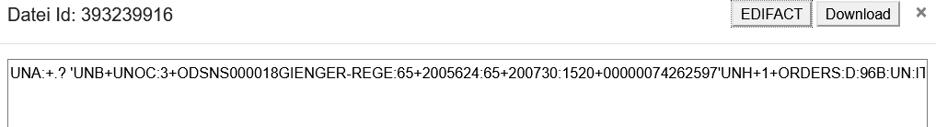 Screenshot Datenansicht einzelner Prozesschritte