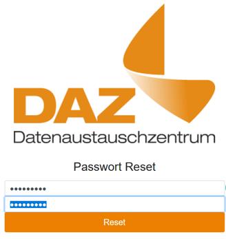 Screenshot des DAZ Passwort Reset Fensters